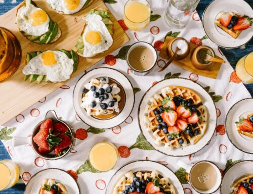Breakfast Delight With Strawberry, Egg And Fruit